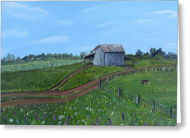 Fading Tobacco Barns Greeting Card