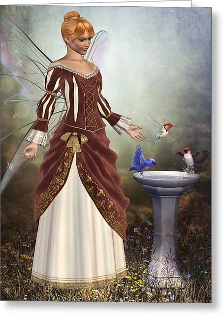 Faerie Garden Greeting Card by David Griffith