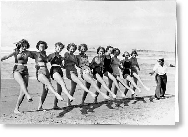 Fair Maidens Beach Dancing Greeting Card by Underwood Archives