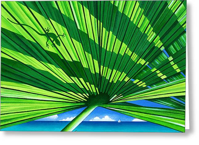 Fair Weather Fronds Greeting Card by Carolyn Steele