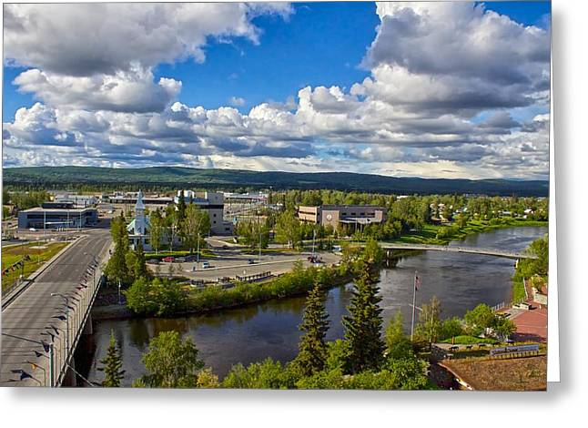 Greeting Card featuring the photograph Fairbanks Alaska The Golden Heart City 2014 by Michael Rogers