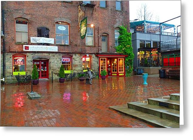 Fairhaven Green In The Rain Greeting Card by Karen Molenaar Terrell