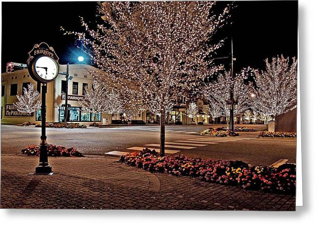 Fairhope Ave With Clock Night Image Greeting Card