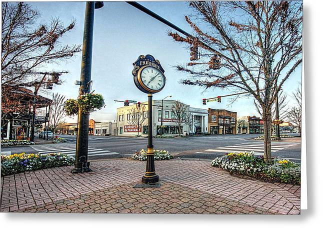 Fairhope Clock And 4 Corners Greeting Card by Michael Thomas