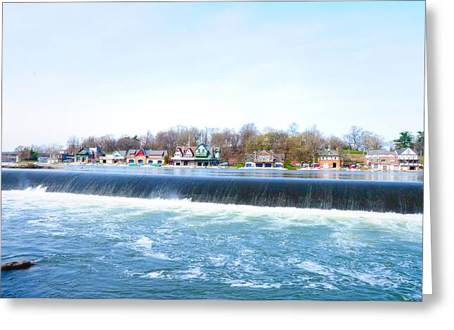 Fairmount Dam And Boathouse Row In Philadelphia Greeting Card