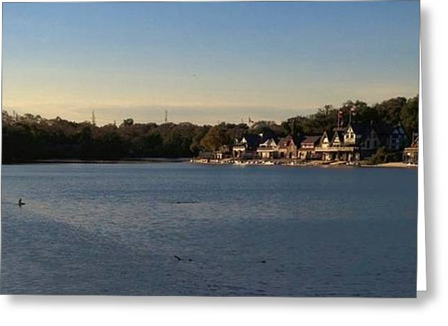 Fairmount Dam And Boathouse Row Greeting Card by Photographic Arts And Design Studio