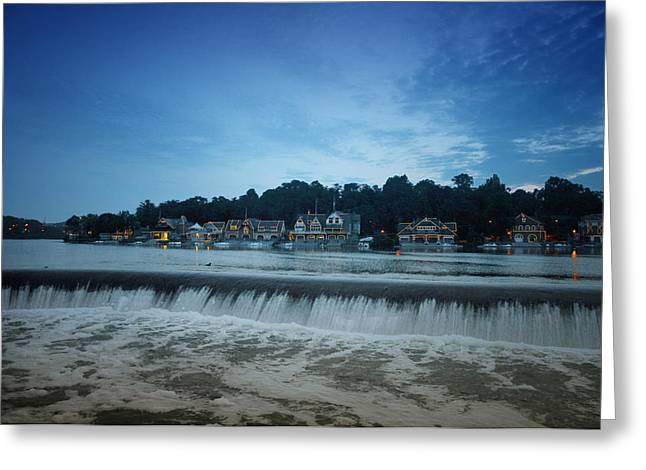 Fairmount Dam In Front Of Boathouse Row Greeting Card