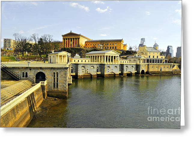 Fairmount Water Works Greeting Card by Addie Hocynec