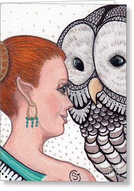Fairy And The Owl - Close Encounter Greeting Card by Sherry Goeben