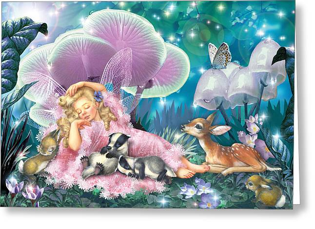 Fairy Asleep And Baby Badgers Greeting Card by Zorina Baldescu