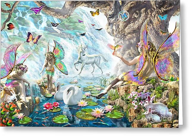 Fairy Falls Greeting Card by Adrian Chesterman