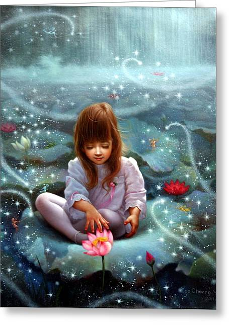 Girl And The Seven Fairy 3 Greeting Card