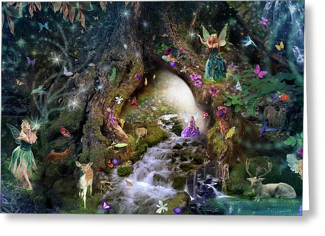 Fairy Hollow Greeting Card by Alixandra Mullins