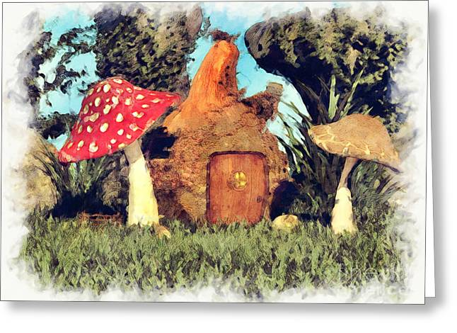 Fairy House With Toadstool Greeting Card