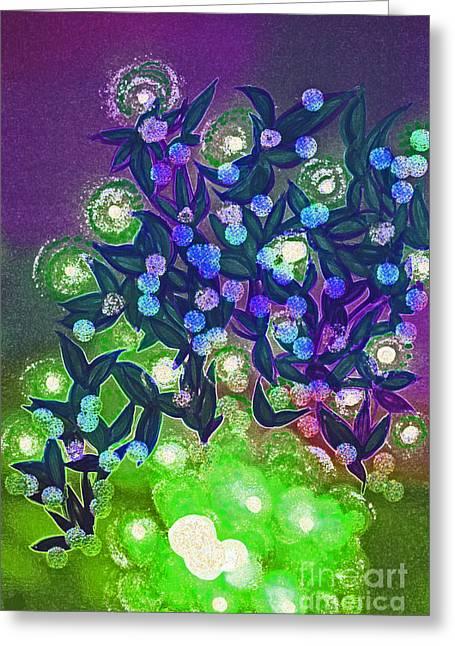 Fairy Light Garden Green By Jrr Greeting Card by First Star Art