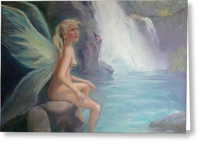 Fairy Of The Secret Falls Greeting Card by Gwen Carroll