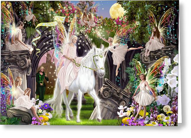 Fairy Queen With Unicorn Greeting Card by Garry Walton