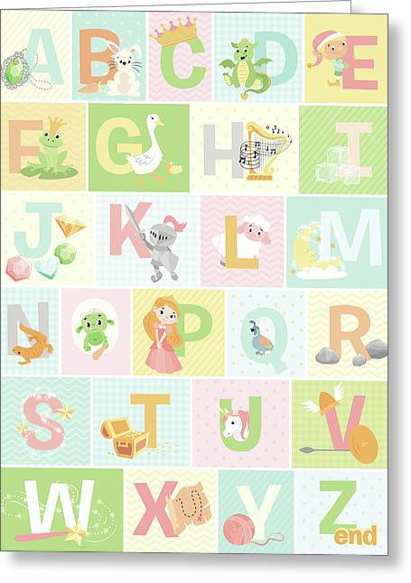 Fairy Tale Alphabet Greeting Card by Josefina