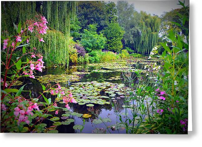Fairy Tale Pond With Water Lilies And Willow Trees Greeting Card by Carla Parris