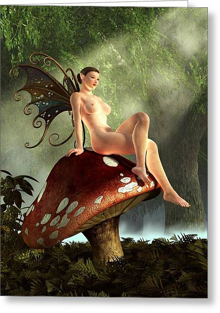 Fairy Toadstool Greeting Card by Kaylee Mason