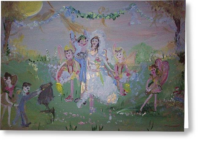 Greeting Card featuring the painting Fairy Wedding by Judith Desrosiers
