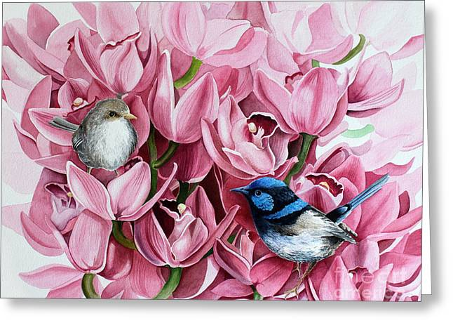 Fairy Wrens And Orchids Greeting Card
