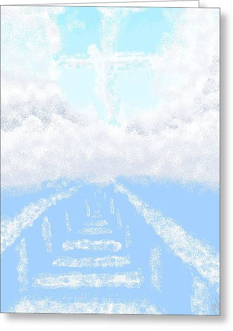 Digital Art Of Religious Image In A Cloudy Blue Sky  Greeting Card