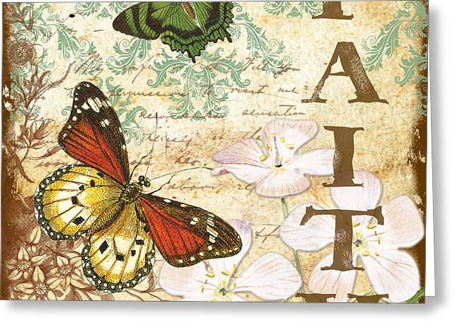Faith And Butterflies Greeting Card by Jean Plout