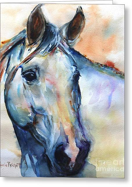 Horse  Grey Or White And Colorful Faithful Greeting Card by Maria's Watercolor
