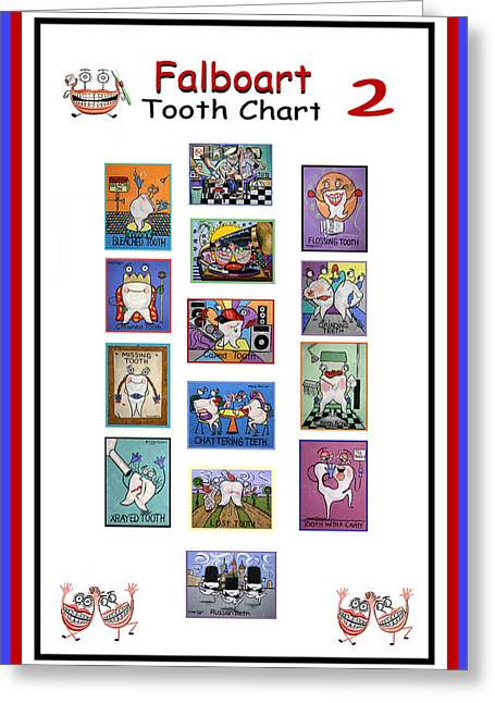 Greeting Card featuring the painting Falboart Tooth Chart Number 2 by Anthony Falbo