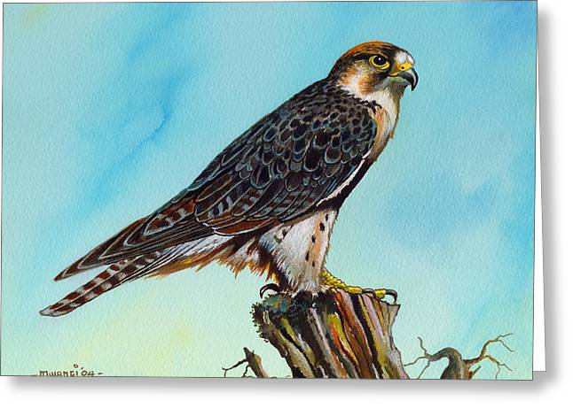 Greeting Card featuring the painting Falcon On Stump by Anthony Mwangi