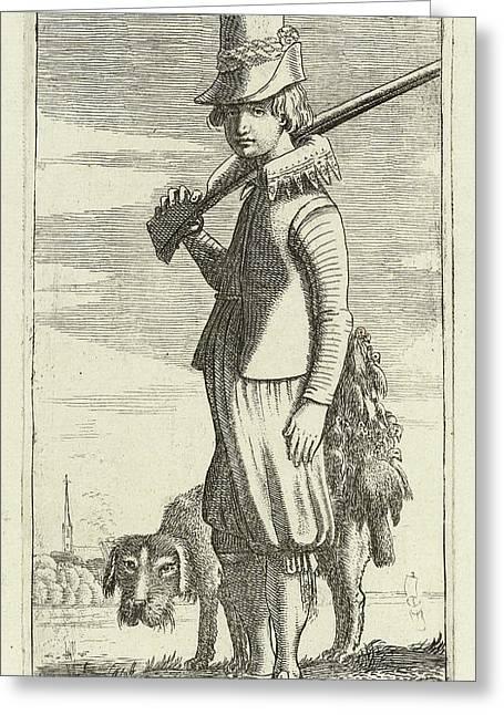 Falconer Clerk And Hunting, Print Maker Jan Van De Velde II Greeting Card by Jan Van De Velde Ii And Robert De Baudous
