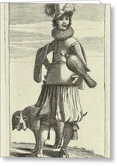 Falconer With Hunting, Jan Van De Velde II Greeting Card by Jan Van De Velde (ii) And Robert De Baudous