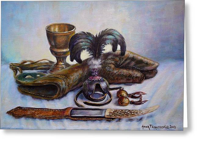 Falconry Still Life. Greeting Card by Anna Franceova