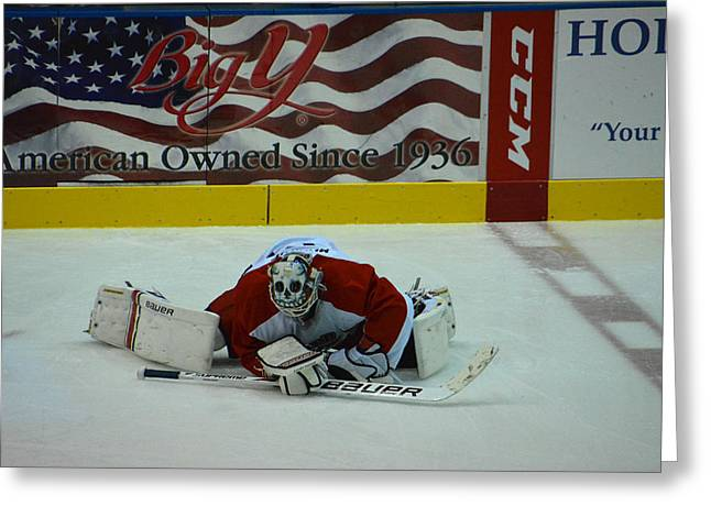 Falcons Goalie Stretching Greeting Card by Mike Martin