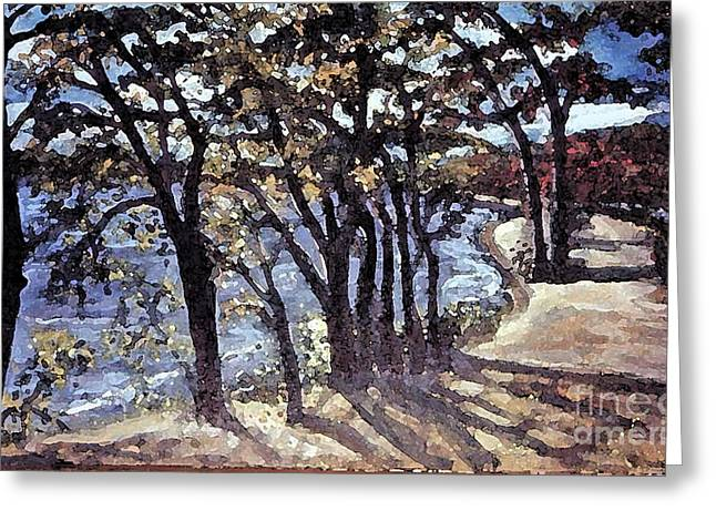 Greeting Card featuring the painting Fall Afternoon At Lake Walden by Rita Brown
