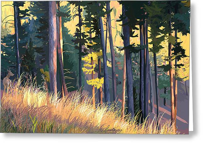 Fall Alpenglow Trees Grasses Greeting Card