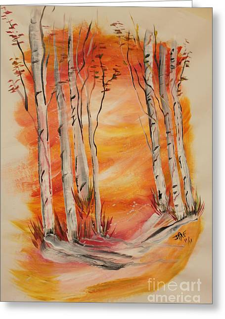 Greeting Card featuring the painting Fall Aspen On Paper by Janice Rae Pariza