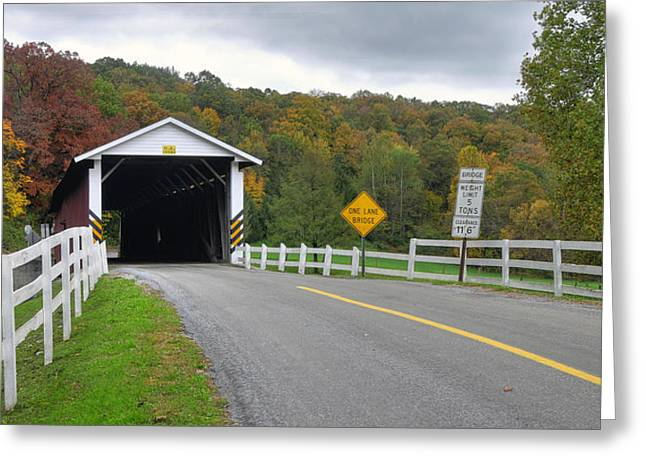 Fall At The Jacksons Mill Covered Bridge Greeting Card by Dan Myers