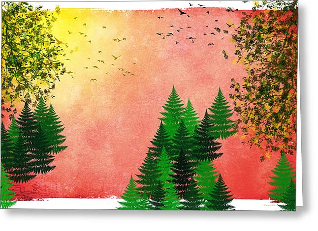 Fall Autumn Four Seasons Art Series Greeting Card by Christina Rollo