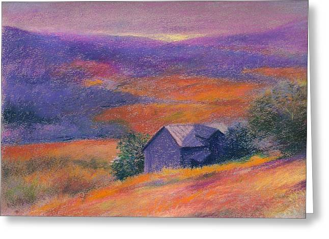 Fall Barn Pastel Landscape Greeting Card