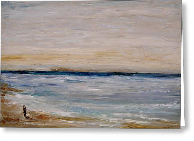 Greeting Card featuring the painting Fall Beach Day 3 by Lindsay Frost