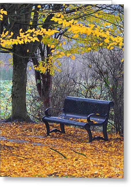Fall Bench Greeting Card