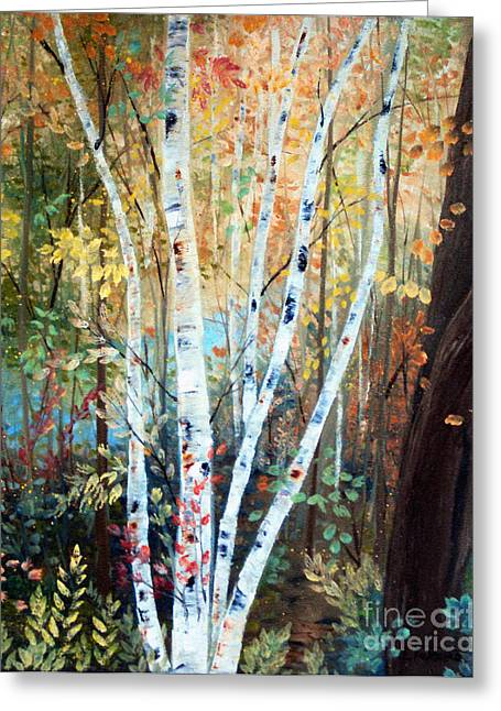 Fall Birch Trees Greeting Card by Laura Tasheiko