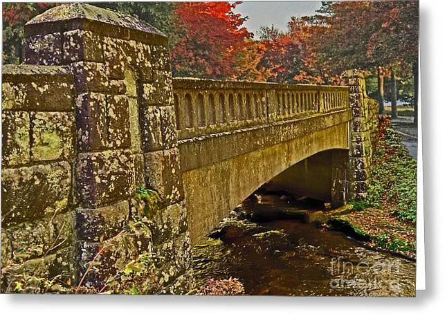 Fall Bridge Greeting Card by Larry Bishop