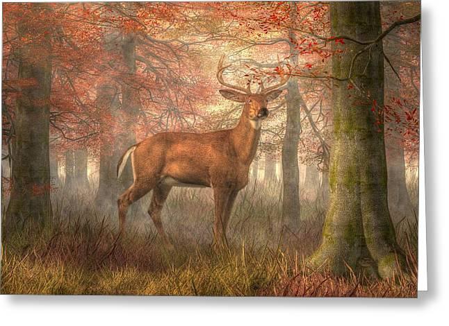 Fall Buck Greeting Card by Daniel Eskridge