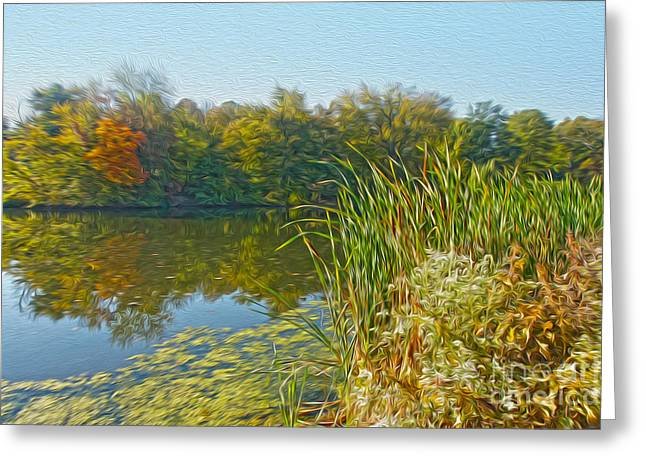 Fall By The River Greeting Card by Nur Roy