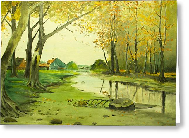 Fall By The Stream By Merlin Reynolds Greeting Card