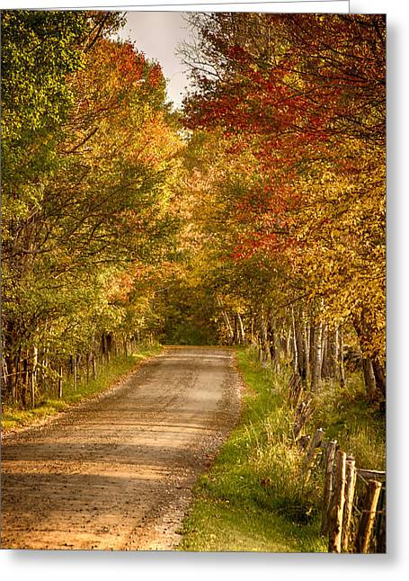 Greeting Card featuring the photograph Fall Color Along A Peacham Vermont Backroad by Jeff Folger