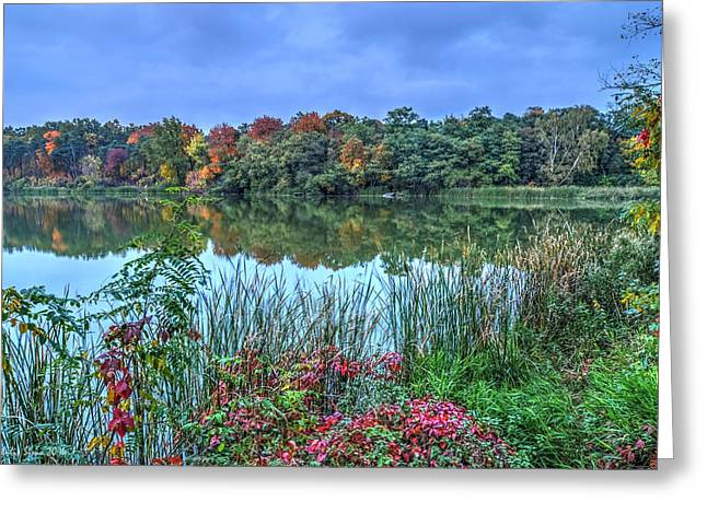 Fall Colors At Blue Hour Near Zegrze Greeting Card